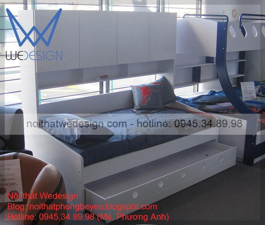 Giường trẻ em có ngăn kéo - tủ - hộc lưu trữ cho phòng trẻ