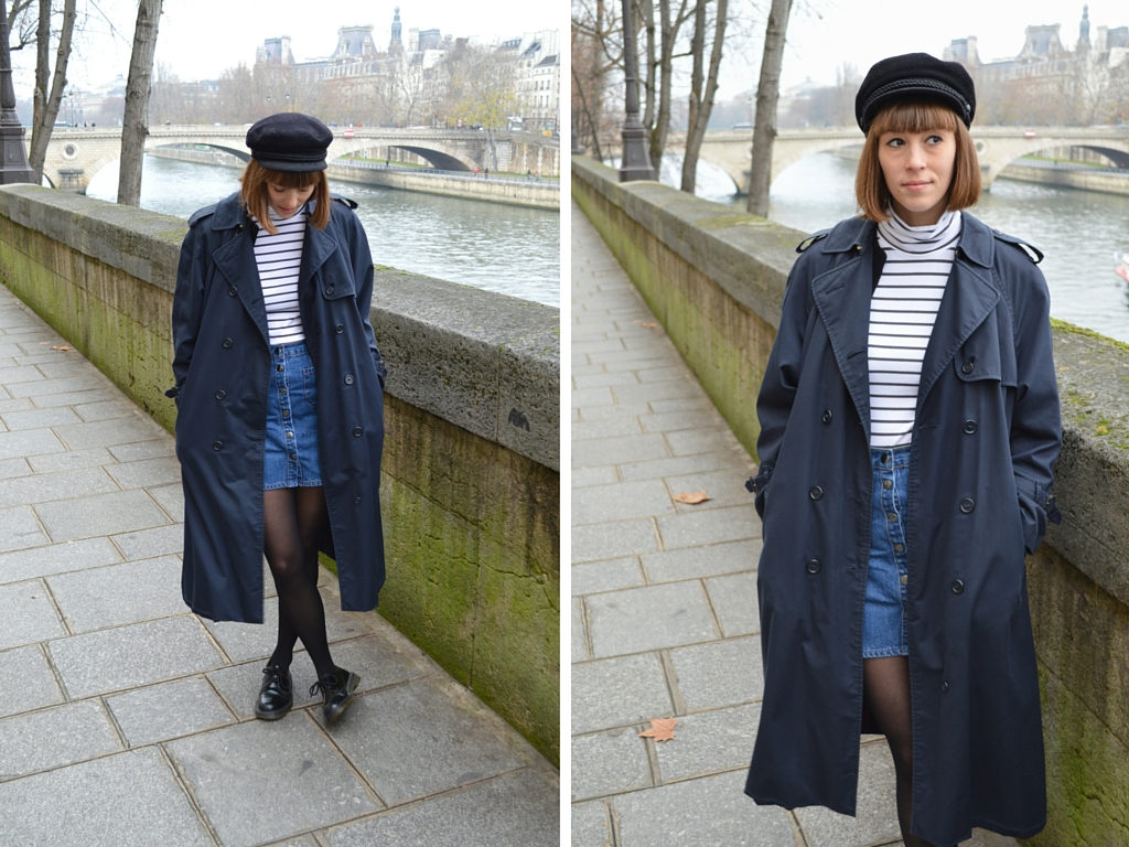 Sailor by the Seine wearing stripes in Paris