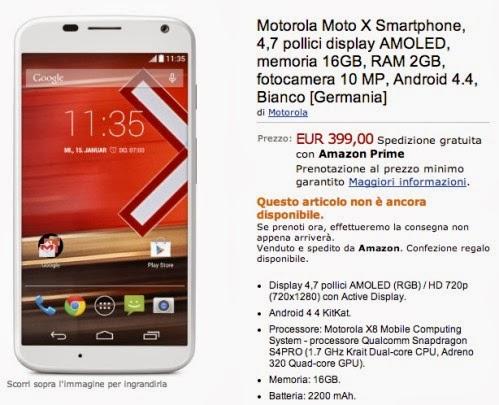 Disponibile in pre vendita il Motorola Moto X su Amazon Italia al prezzo di 399 euro