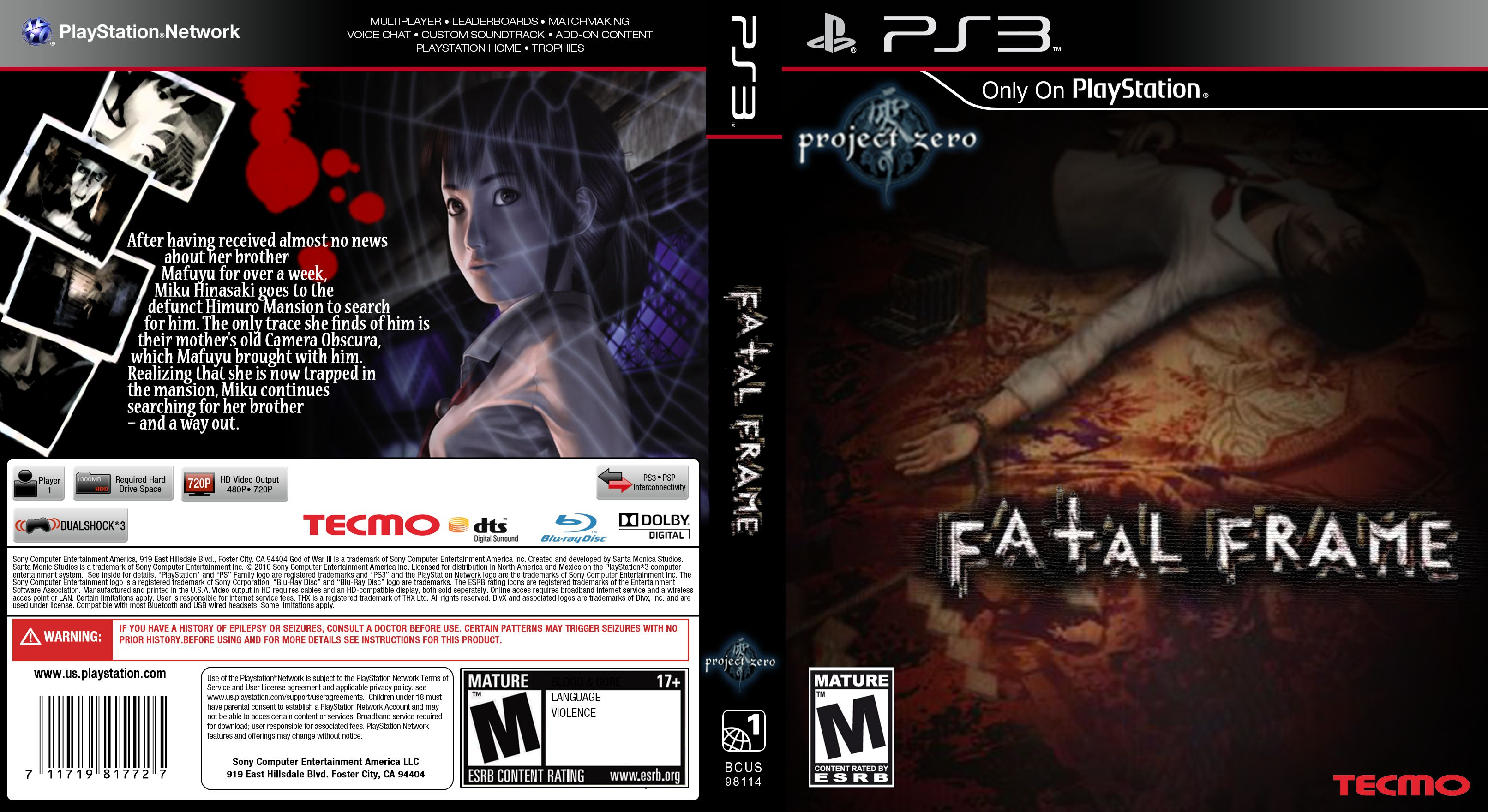 Fatal Frame PS3 COVER | World Cover