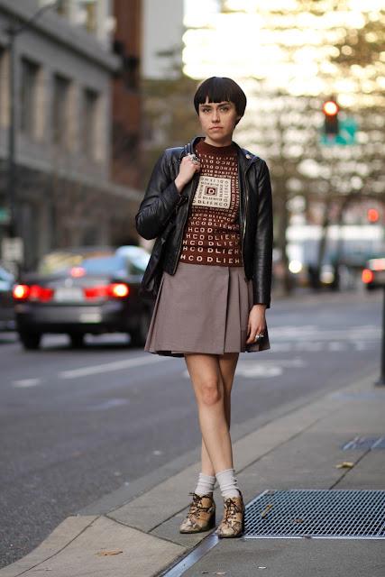 Meg Schmitt Pleated skirt seattle street style fashion Nordstrom snakeskin shoes