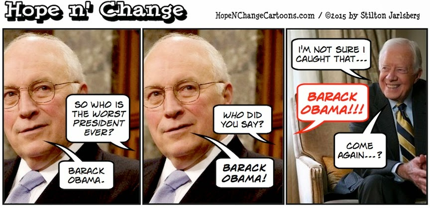 obama, obama jokes, political, humor, cartoon, conservative, hope n' change, hope and change, stilton jarlsberg, dick cheney, worst president, take America down, carter