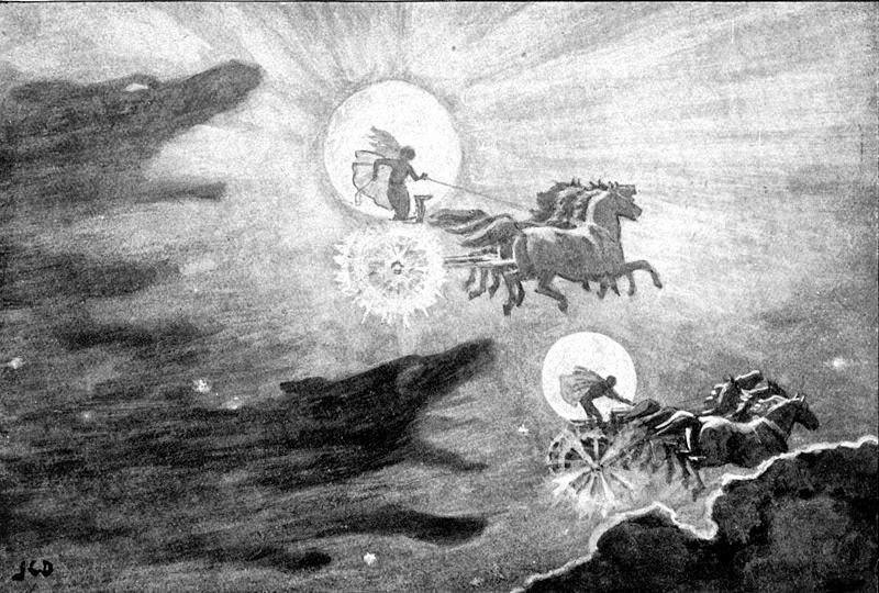 Los lobos Sköll y Hati