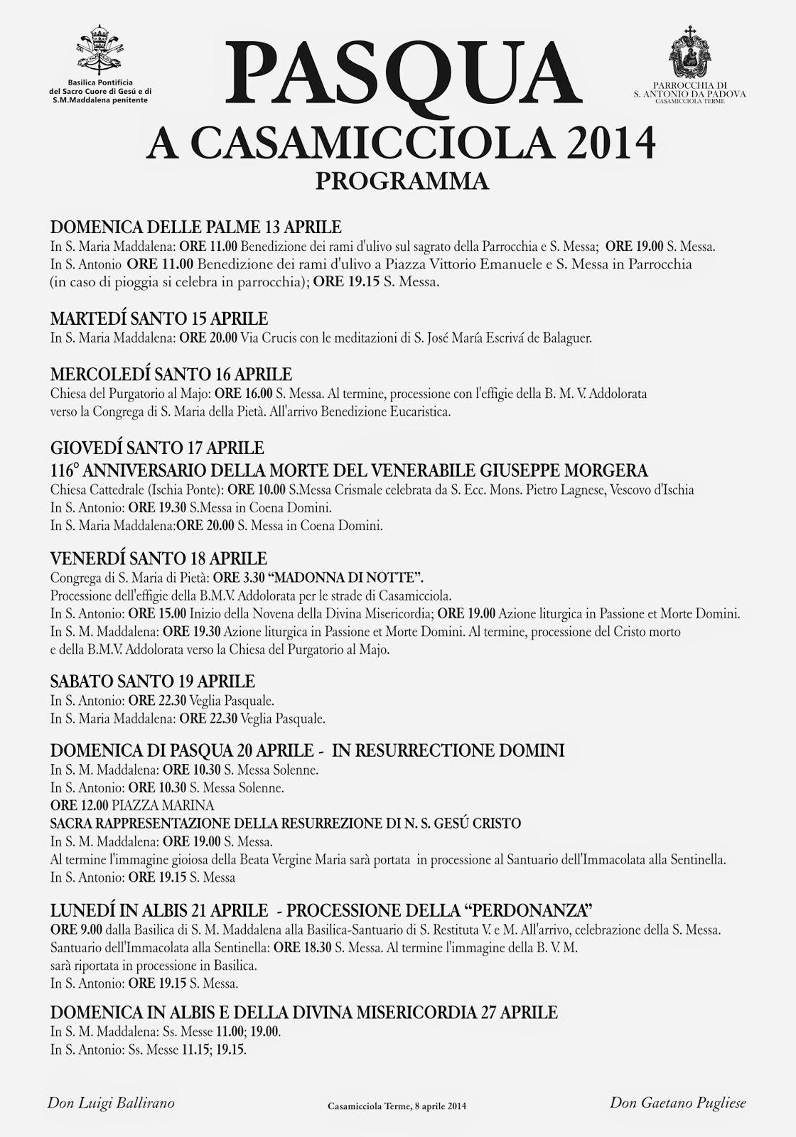 Il programma della Pasqua 2014 a Casamicciola Terme