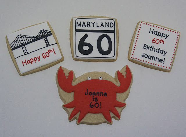 Maryland themed birthday cookies