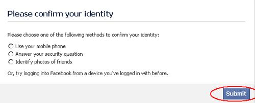 Konfirmasi Identitas Akun Facebook Dikunci Sementara