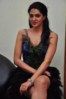 Sakshi in designer gown spicy deep neck top