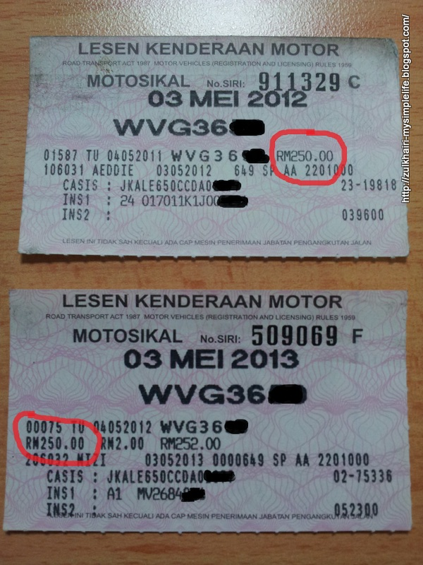 Motorcycle road tax
