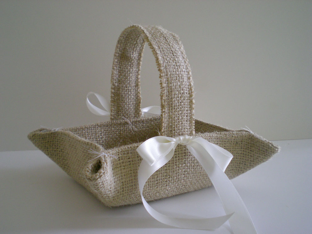 How To Make A Basket For A Flower Girl : Nutfield weaver burlap wedding pretties
