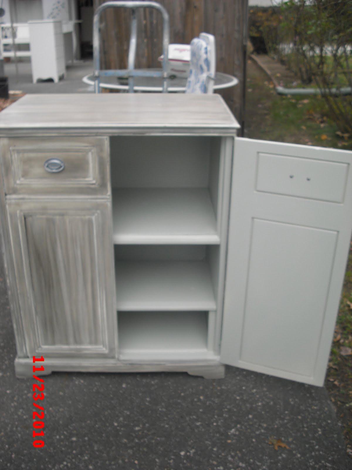 White Antique Liquor Cabinet