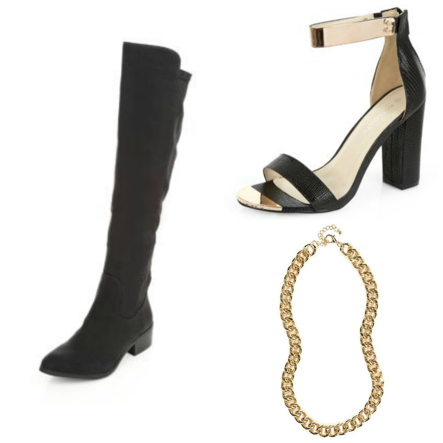 high street wardrobe basics staples essentials,accessories, new look, river island, black boots, sandals, statement necklace