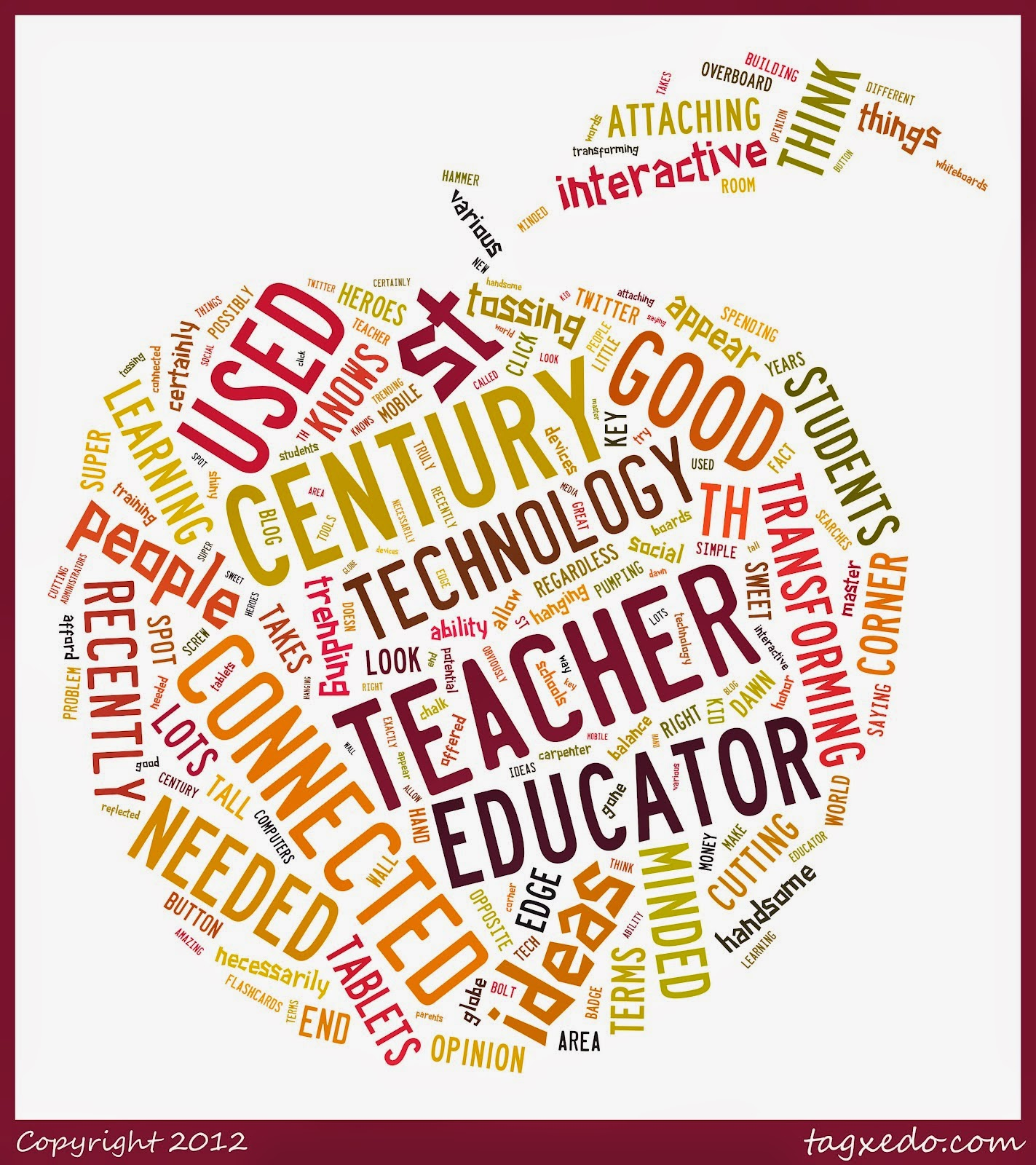 Image of collaged words pertaining to 21st century education