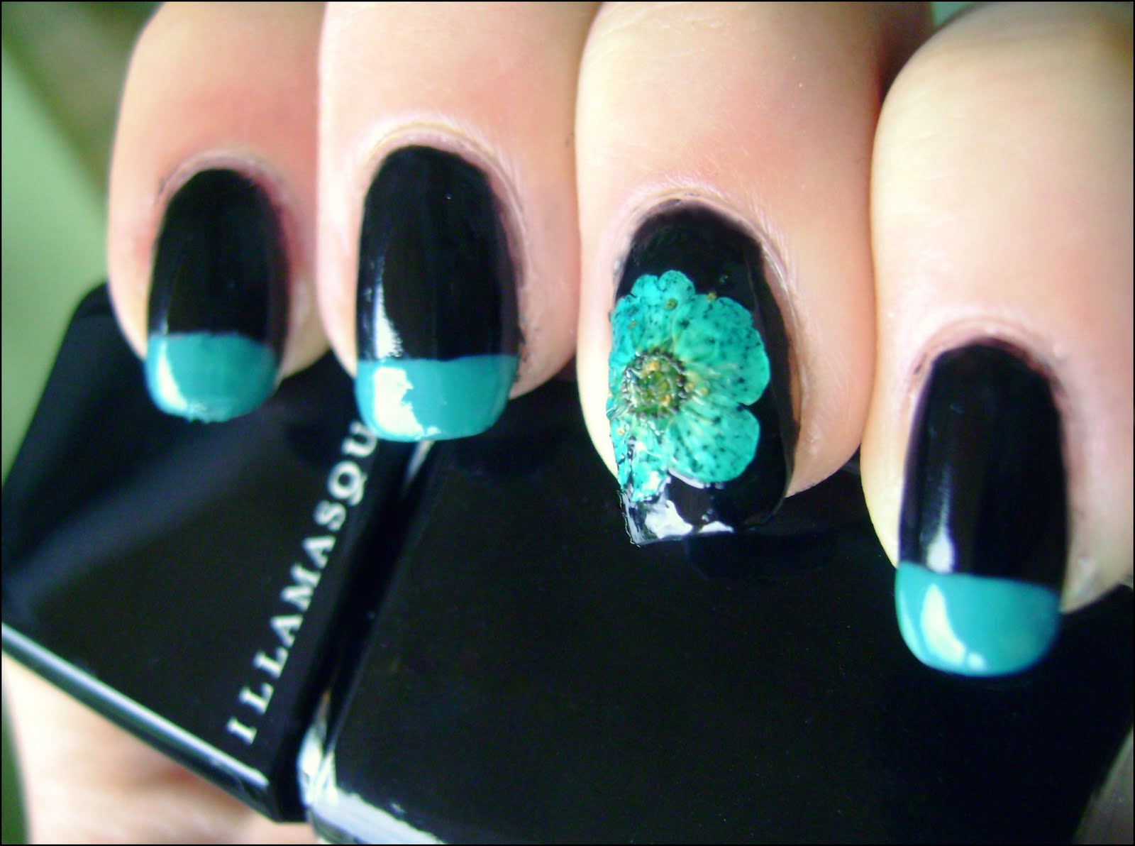 Acrylic Nail Art Designs Turquoise Dried Flowers On Nails