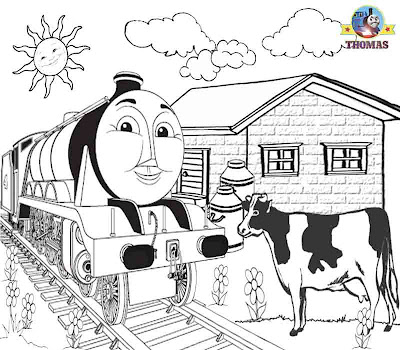Printable pictures steam train express Gordon the big engine cow on the line Thomas colouring pages