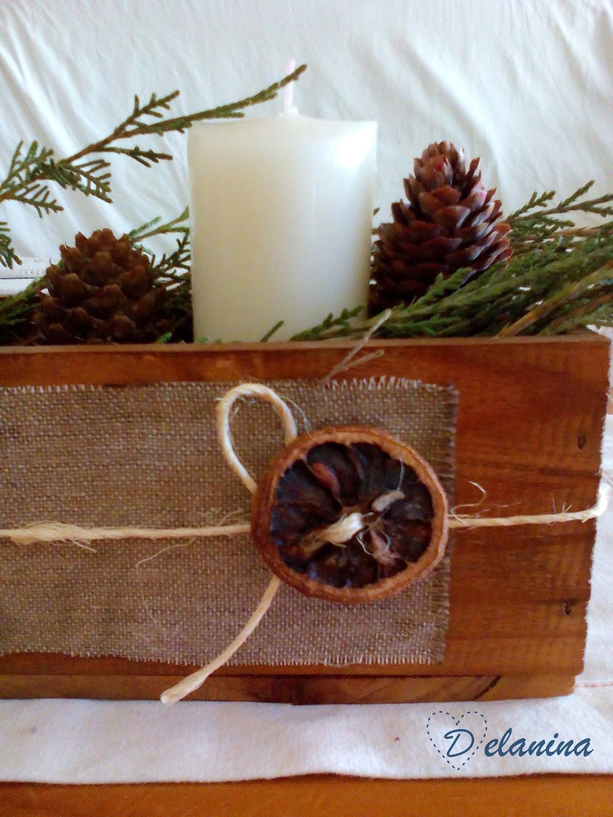 Diy centro de mesa navide o delanina - Como decorar cajas de madera para centros de mesa ...
