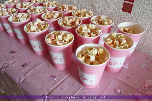 Ready to Pop Popcorn Cups for a Baby Shower at The Purple Pumpkin Blog