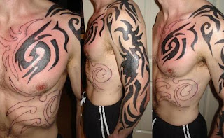 full arm and shoulder tribal tattoos