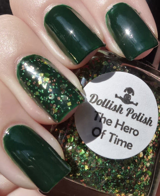 Rampage - Illamasqua, The Hero Of Time - Dollish Polish, swatch