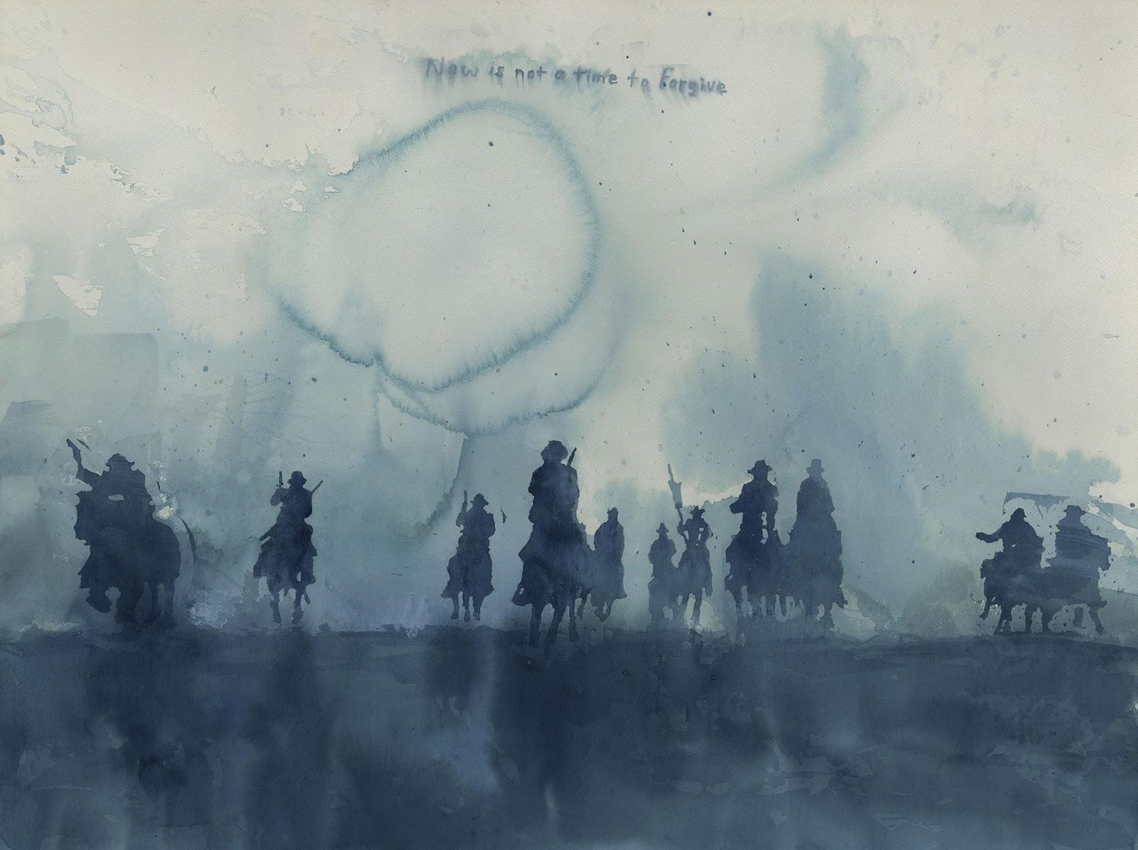 varios vaqueros montados a caballo galopan en acuarela