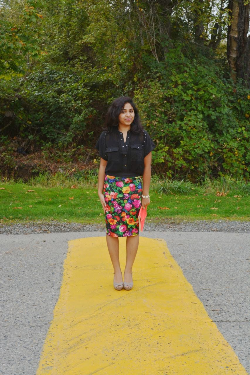 Mango Studded Sheer Shirt, S.Y.L.K Floral Pencil Skirt