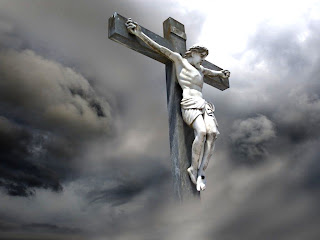 Jesus On cross with grey wind