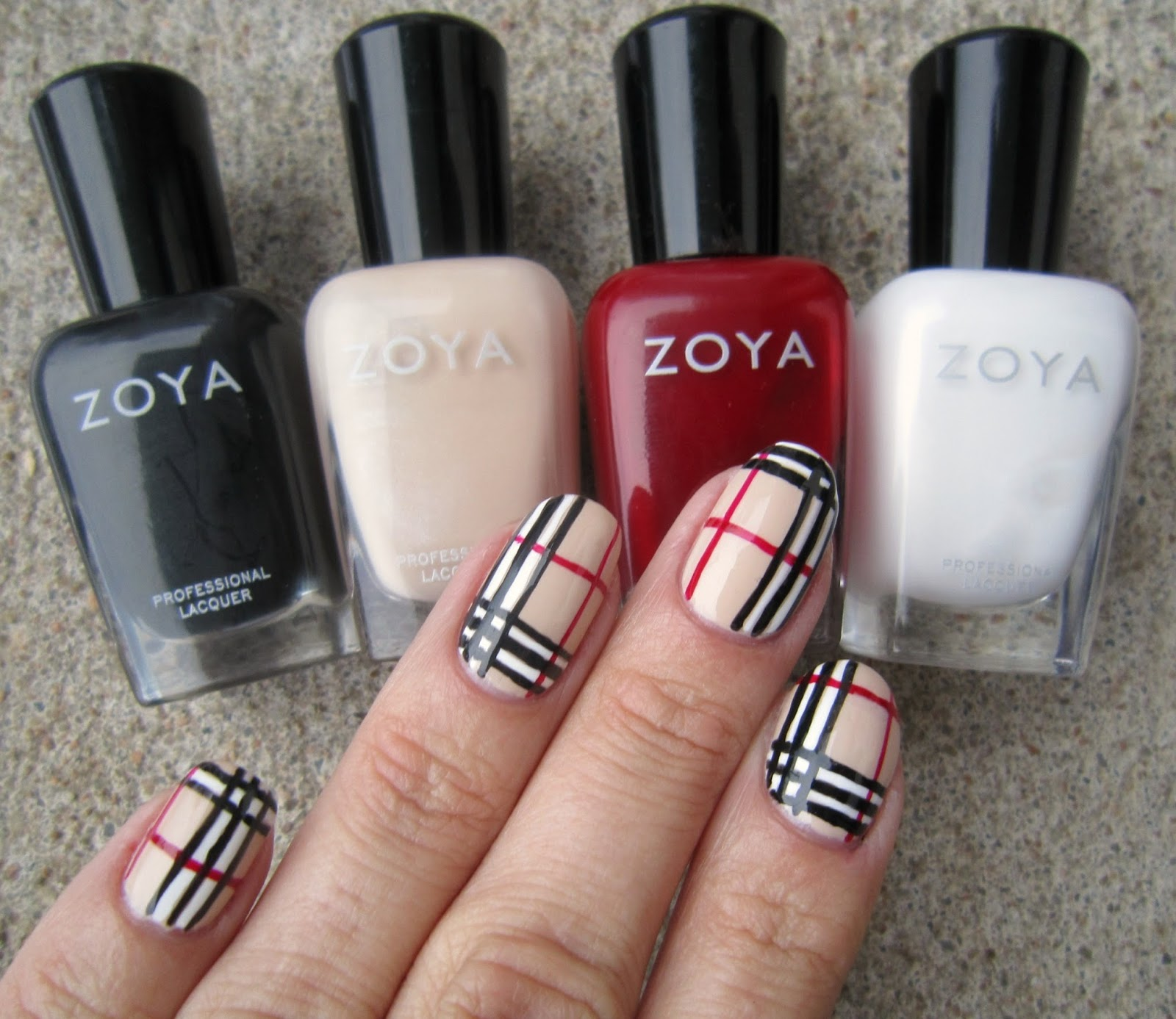 Concrete And Nail Polish Burberry Plaid Nails With Zoya