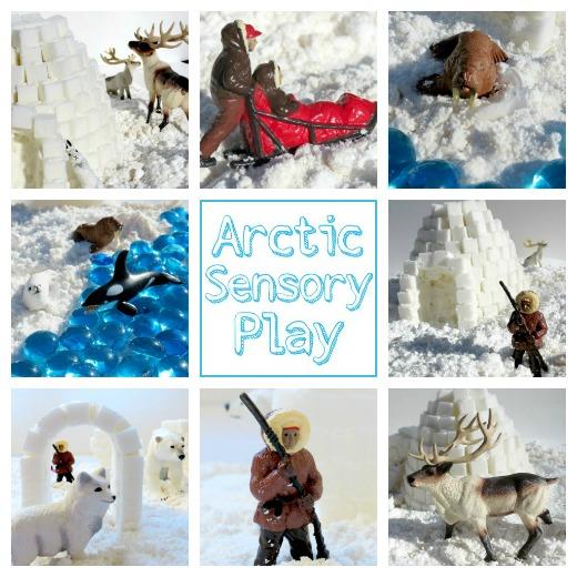 arctic sensory bin, snow bin