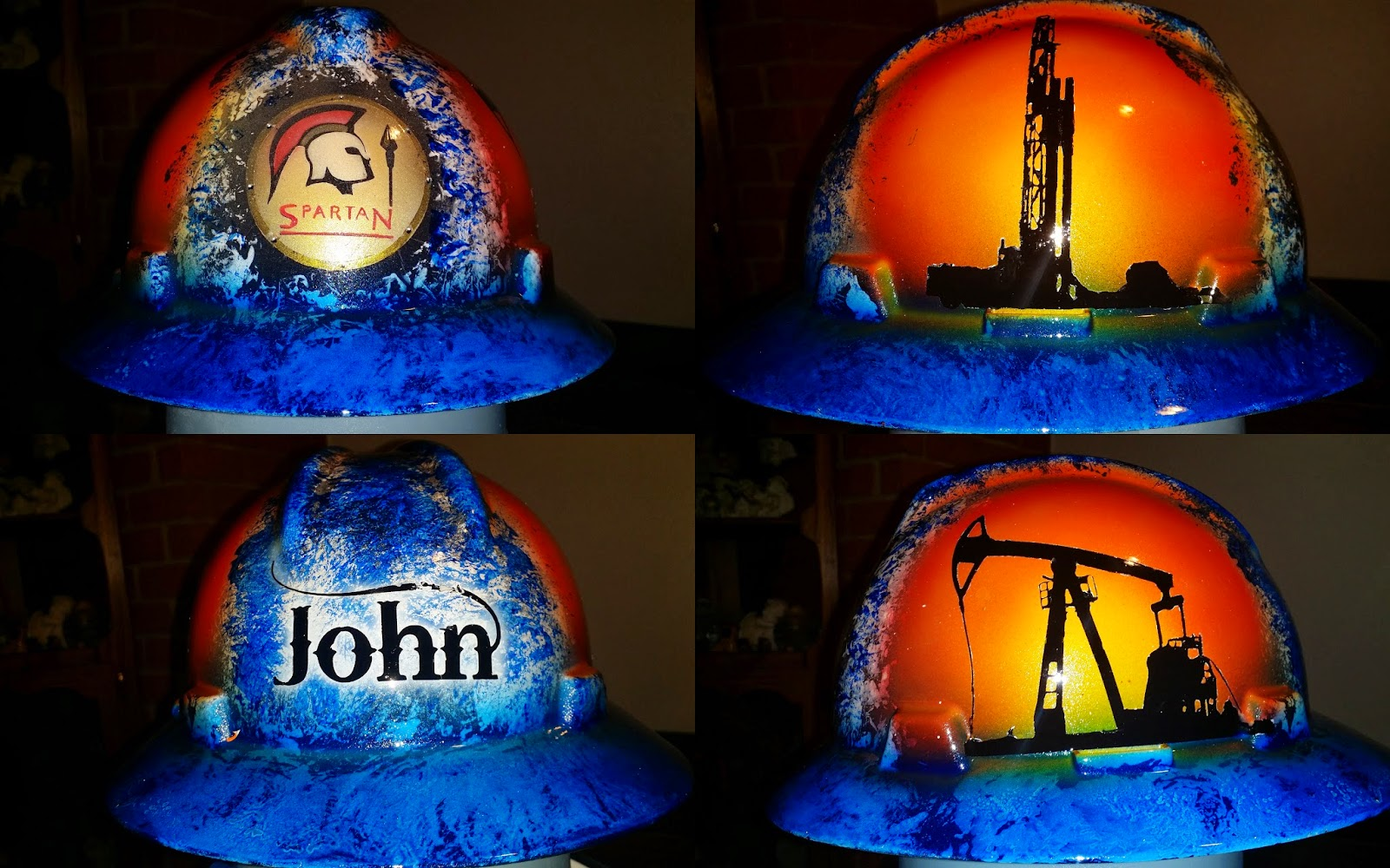 Spartan Energy custom hard hat with workover rig