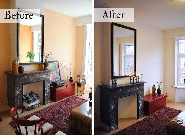 Dutch design on a budget de zitkamer is geschilderd - Kleine woonkamer decoratie ...