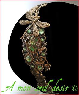erre-tête elfique floral végétal accessoire coiffure cheveux mariage libellule fleurs dragonfly elven wedding headband
