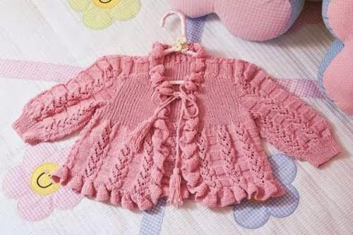 TRICO y CROCHET-madona-mía: Suéter tejido para niña en color rosa