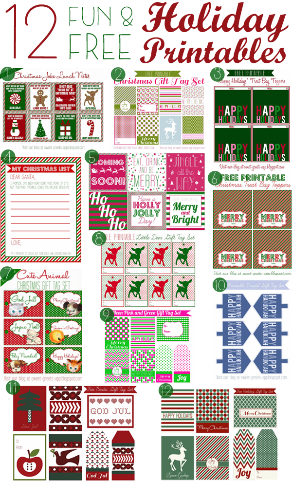 12 free holiday printables