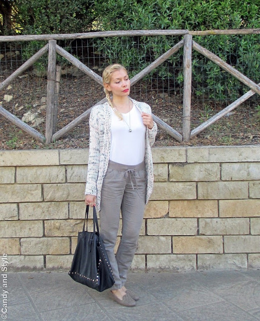 Braid+Cardi+MilitaryGreenPants+Loafers+ToteBag - Lilli Candy and Style Fashion Blog