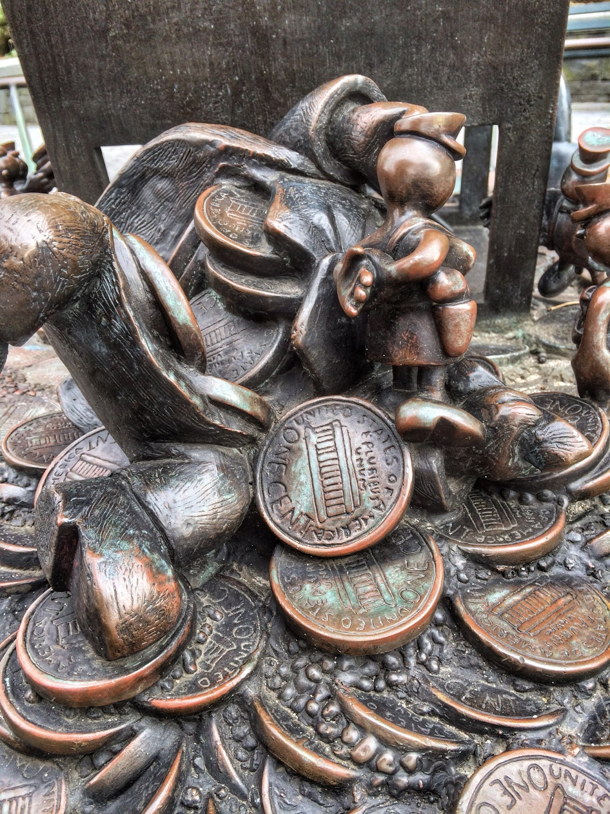 A close up of on of the tableaus in The Real World, Tom Otterness 1992 Nelson Rockefeller Park #NYC