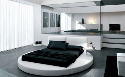 dormitorio matrimonial con cama redonda