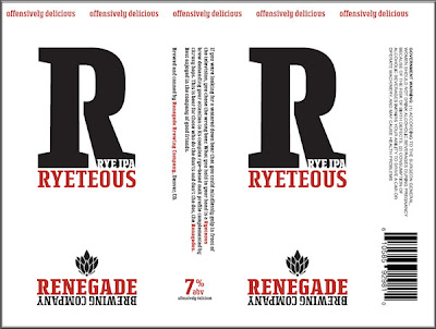 Renegade Brewing's Ryeteous Rye IPA label