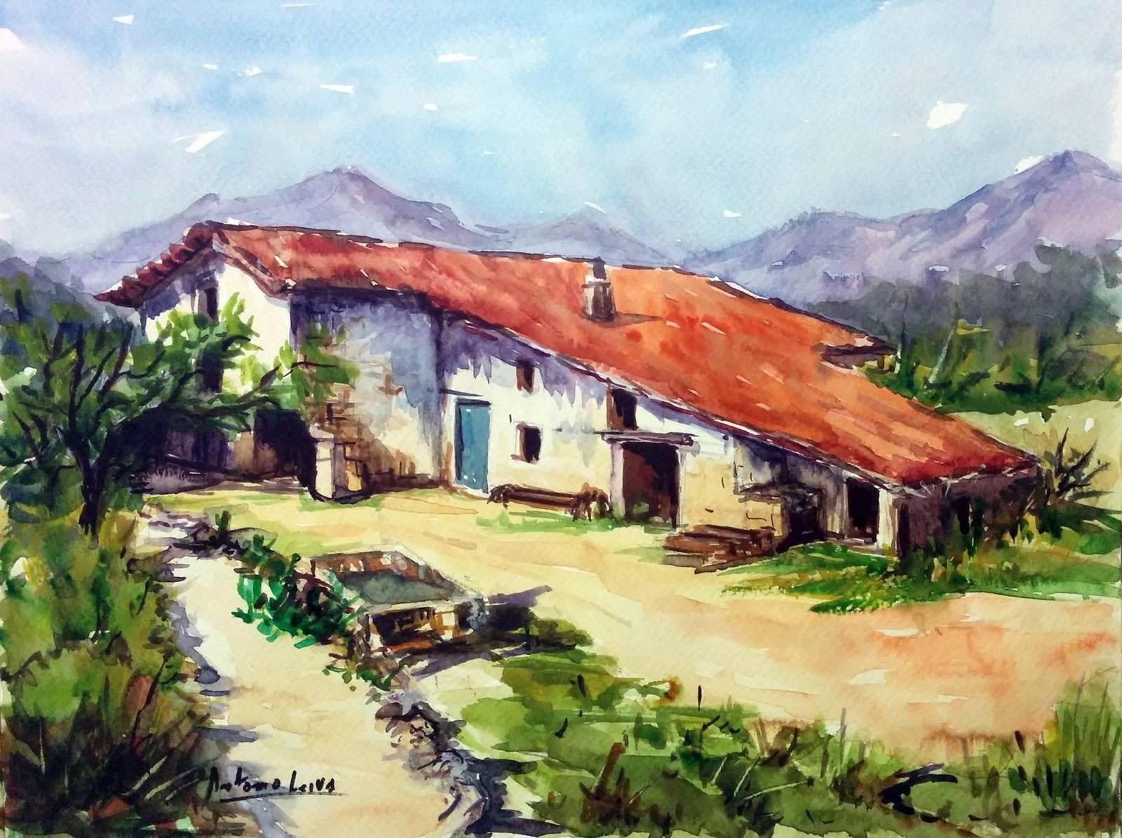 Blog acuarelas antonio leiva caserio vasco - Caserios pais vasco ...