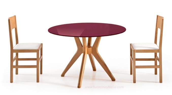 Mesas redondas para cocina mesa de comedor redonda de for Mesa redonda de cristal extensible