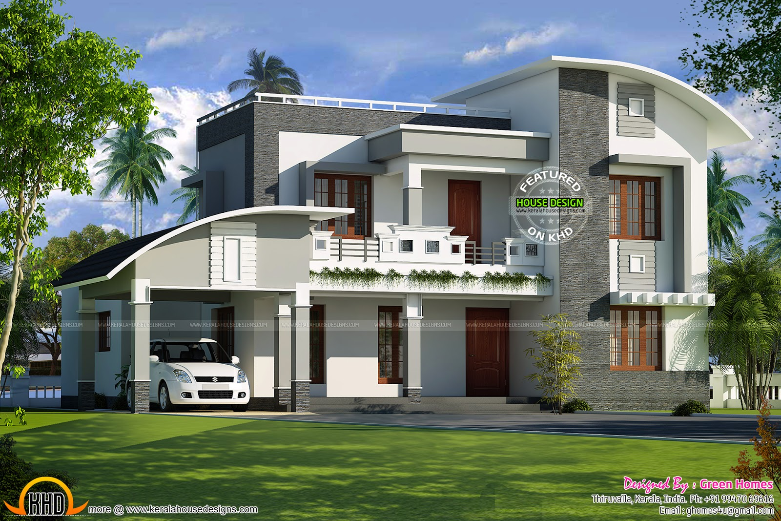 Curved roof flat roof house plan kerala home design and for Curved roof house plans
