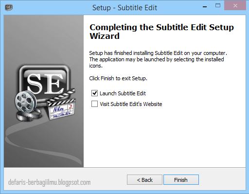 Langkah terakhir instalasi subtitle edit