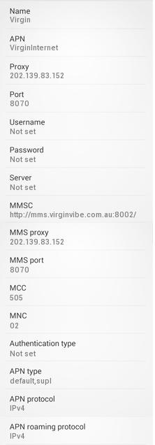 Virgin Mobile Australia Internet Settings for Android