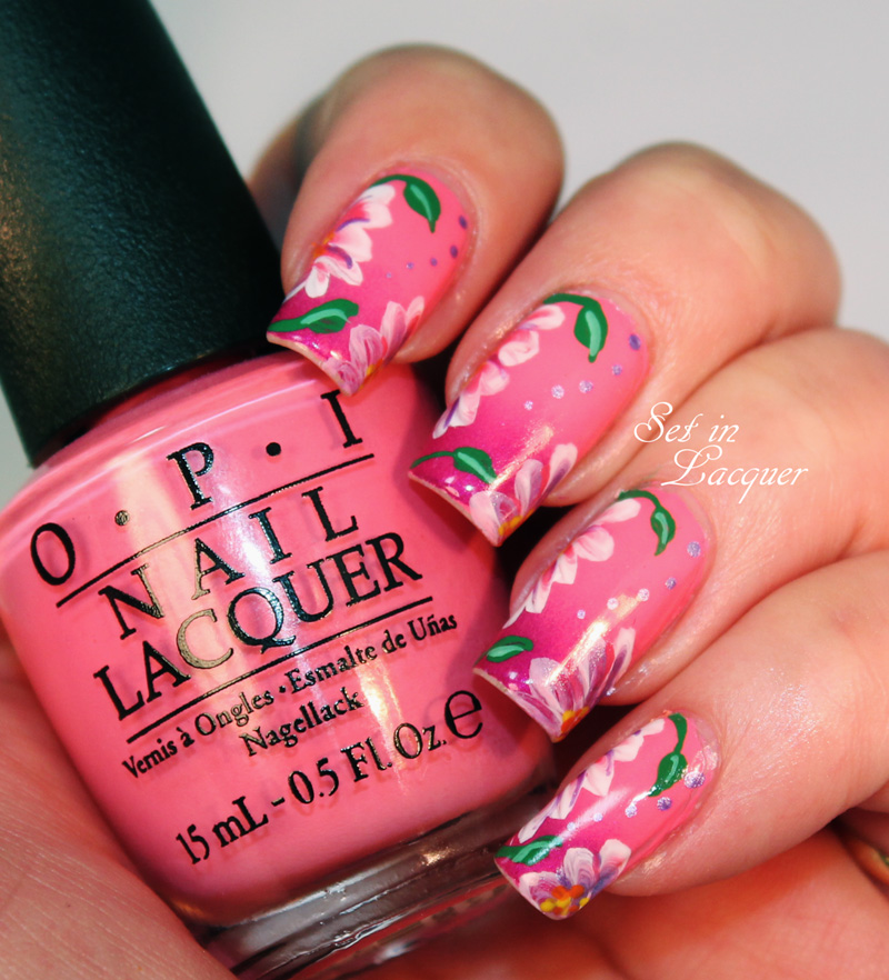 Floral one-stroke nail art over gradient base