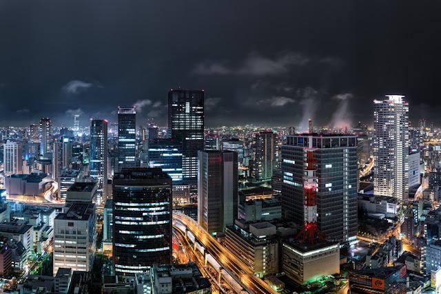 Japonia, Osaka, miasta nocą