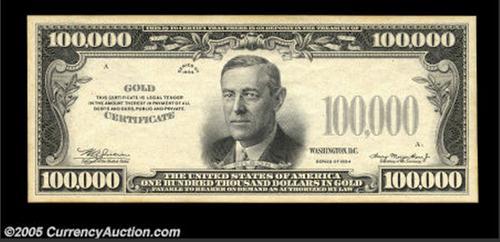100 000 1934 gold certificate specimen lunaticg coin for 100000 dollar house