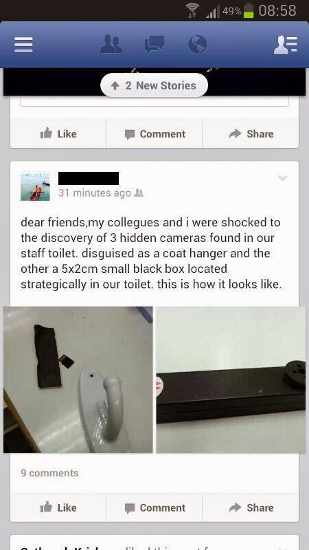 Screenshot kakitangan hospital yang menceritakan tentang kamera tersembunyi yang dijumpai