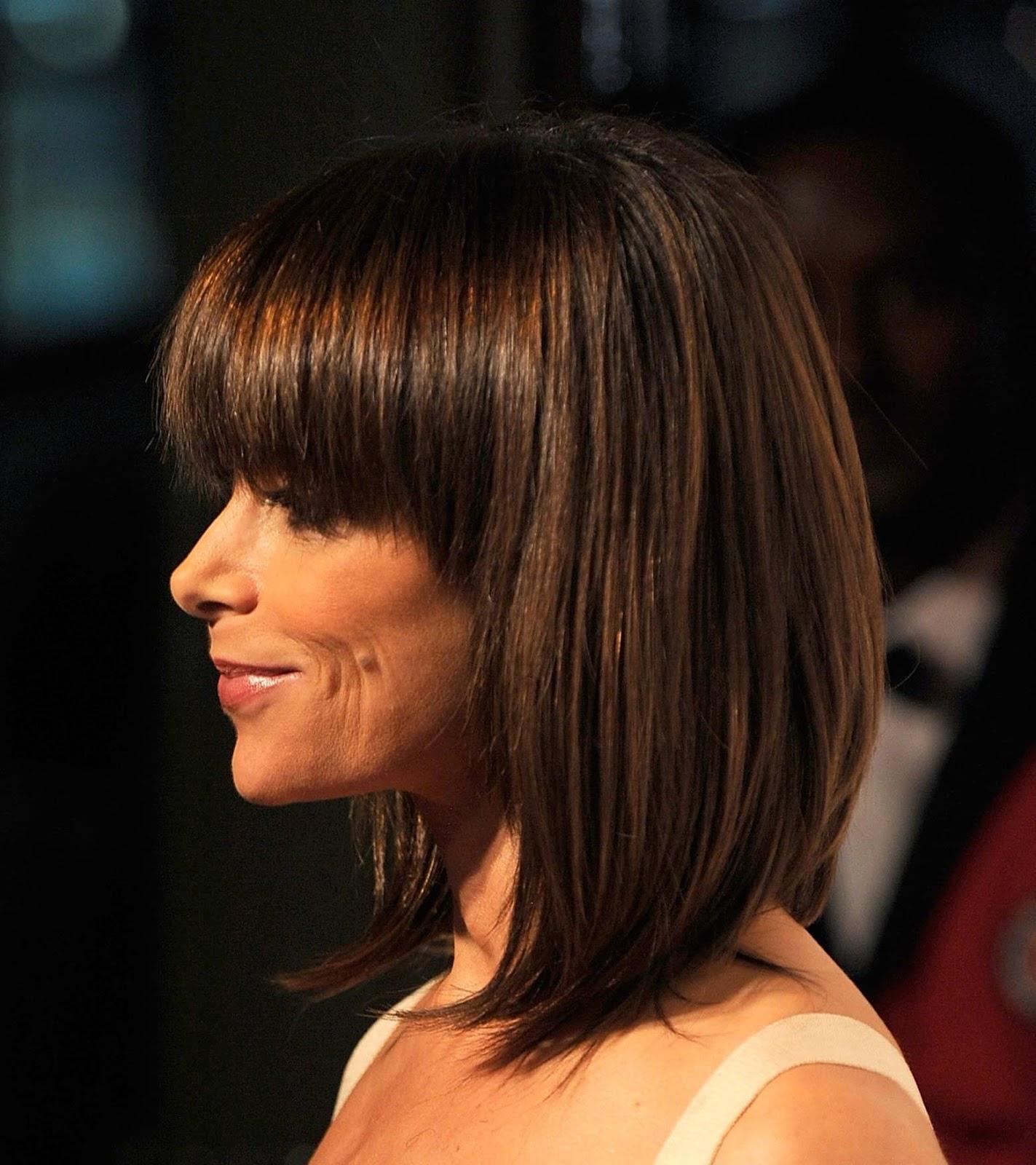 Фото прически с челкой для средних тонких волос