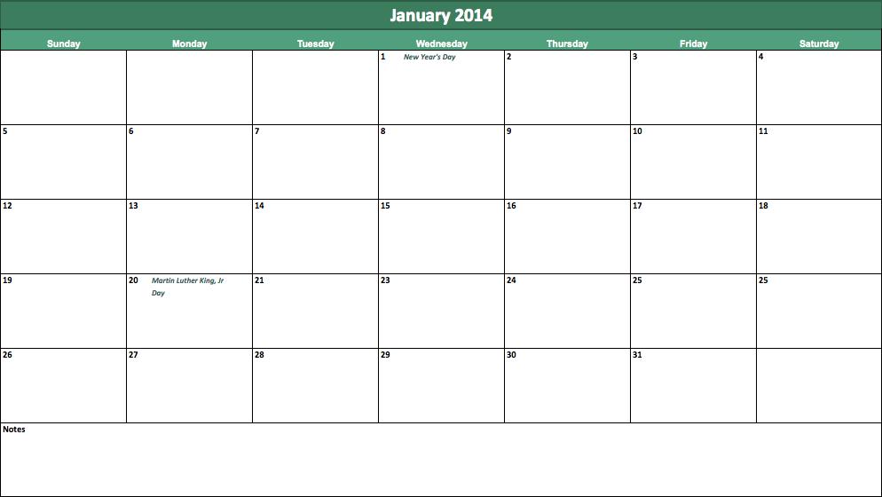 January 2014 Calendar Printable 4 Printable Calendar 2014 Blank
