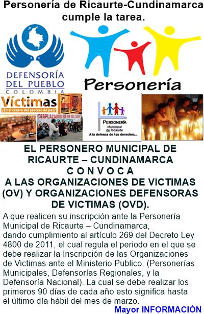 COLOMBIA: Inscripción de víctimas y sus organizaciones a nivel nacional ante el ministerio público,