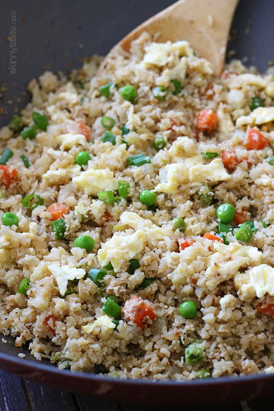 "Cauliflower ""Fried Rice"" – Swap rice for cauliflower for this AMAZING low-carb dish which is VERY popular on Skinnytaste!"