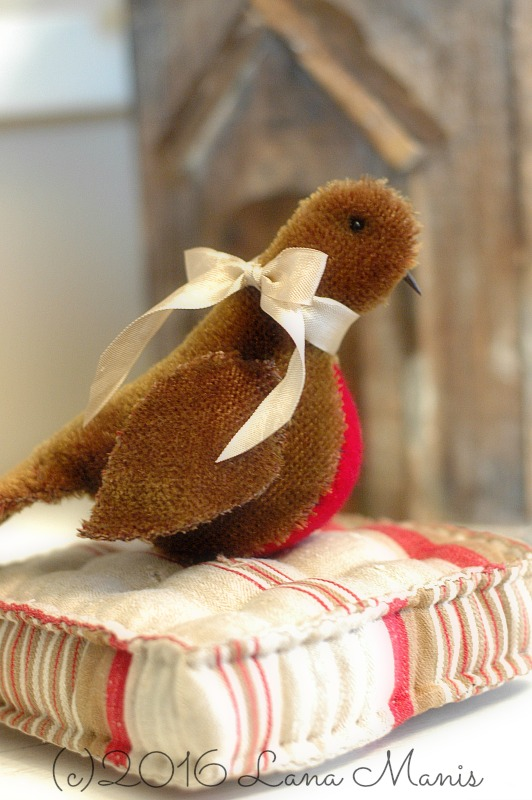 Mohair Bird on Antique French Ticking Mattress Pincushion